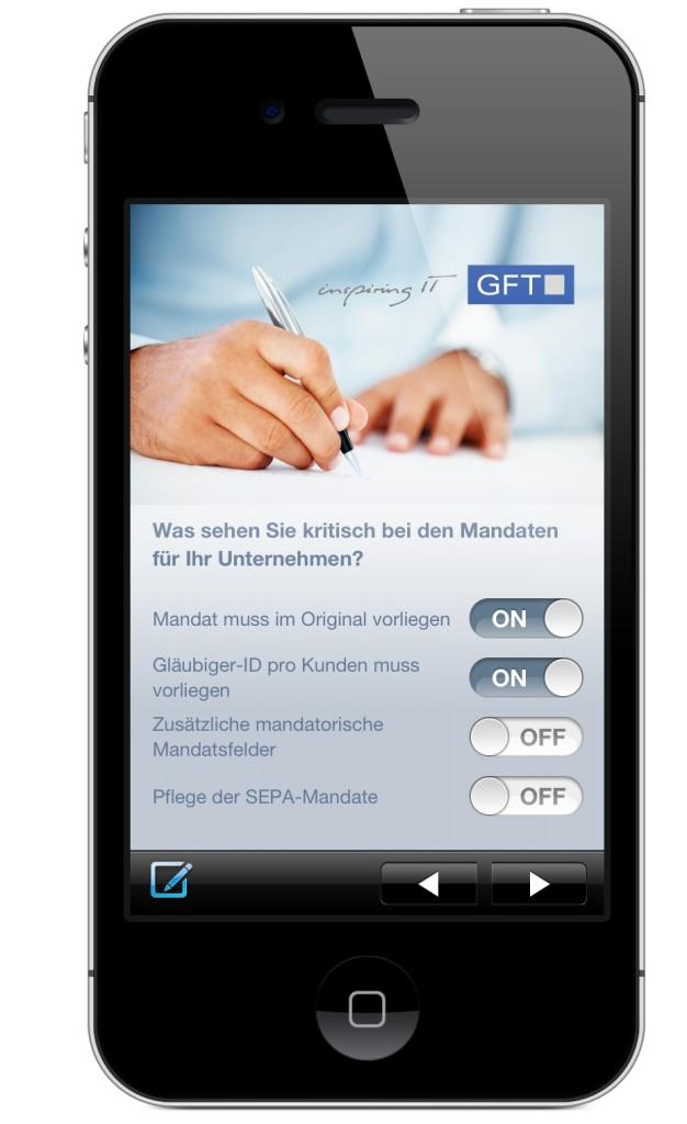 App runterladen, Fragen beantworten und Antwort erhalten, ob Ihr Unternehmen SEPA-fit ist.