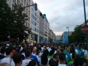 Am Start des JP Morgan Lauf 2014 in Frankfurt