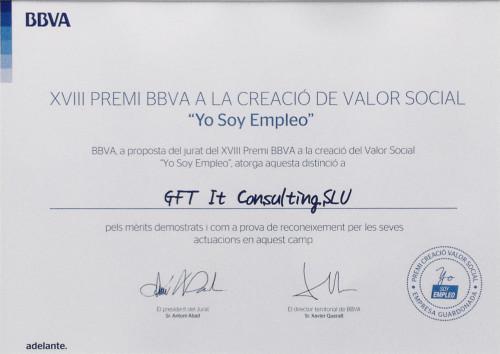 """GFT recibió el premio BBVA a la Creación de Valor Social """"Yo Soy Empleo"""", el 3 de noviembre"""