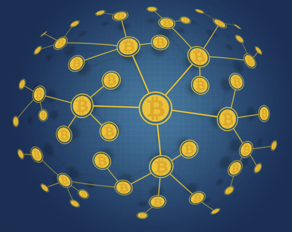 Global Bitcoin Network with bitcoin currency symbol