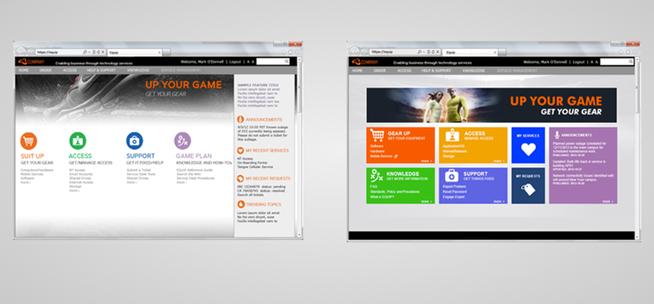 Creating a good user experience for your service portal for Intranet portal design templates