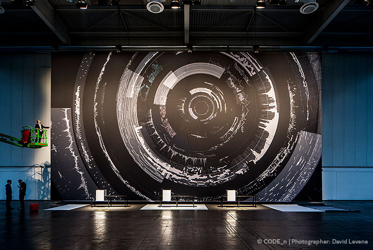 Kram and Weisshaar have fashioned a design for #CODE_n, which will adorn Hall 16 from floor to ceiling and feature a 3,000 square meter, high-resolution panoramic backdrop