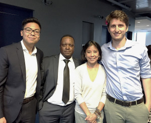 From left to right: GFT Intern Fernando Espinoza, GFT Head of UX Practice Gordon Akwera, Code to Work Founder and CEO Barbara Chang, GFT UX Designer Aaron Izakowitz